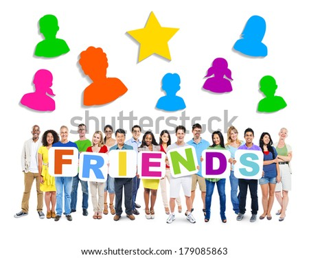 Large Group of Diverse Multi-ethnic People Holding Friends with Symbols