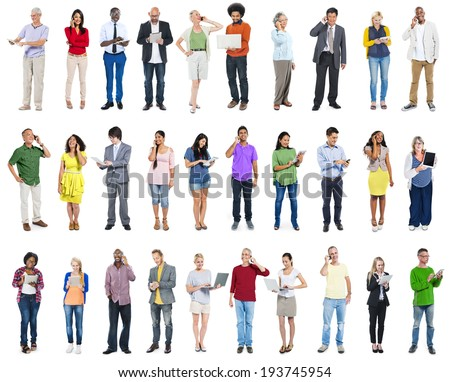 Large Group of Diverse People Using Digital Devices - stock photo