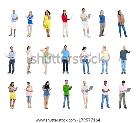 Large Group of Diverse Social Networking World People  - stock photo