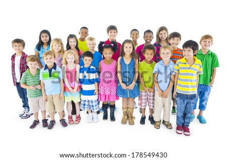Large Group of Diverse World Children - stock photo