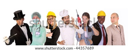 Large group of diversity workers people on  white background - stock photo