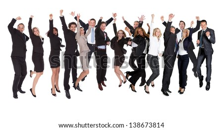 Large group of excited business people. Isolated on white - stock photo