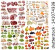 large group of food in front of white background - stock