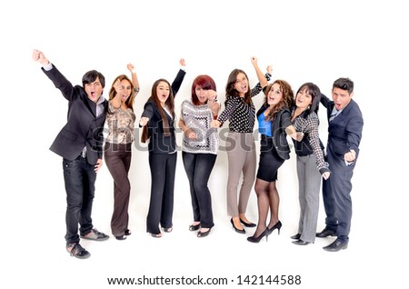 Large group of happy business people. Success. With a happy man on front