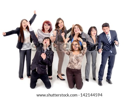 Large group of happy business people. Success. With a happy man on front - stock photo