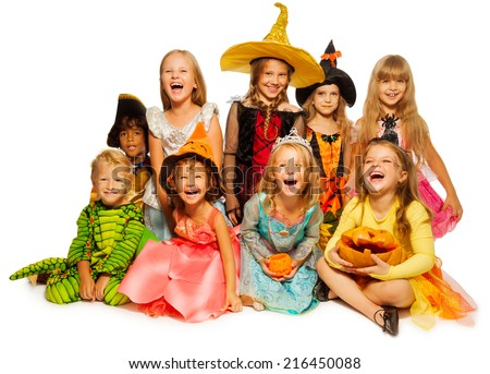 Large group of kids in Halloween costumes - stock photo