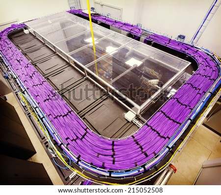 Large group of lilac utp Internet cables in Data Center - stock photo