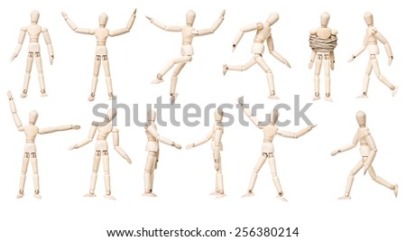 Large group of Mannequin Dolls with different expression isolated on white background - stock photo