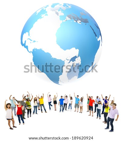 Large group of multi-ethnic young people celebration - stock photo