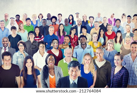 Large group of Multiethnic people - stock photo