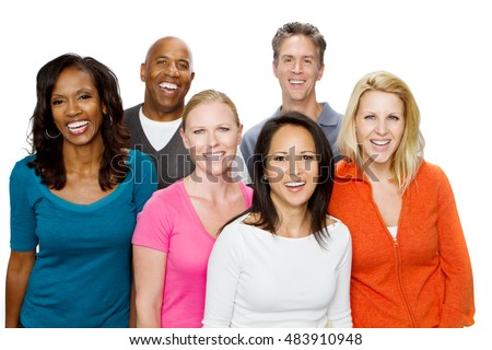 Large group of multiracial  people.