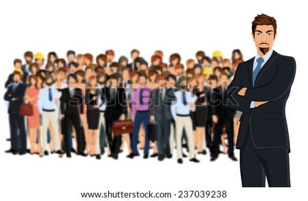 Large group of people adult professionals business team with attractive young man on foreground  illustration