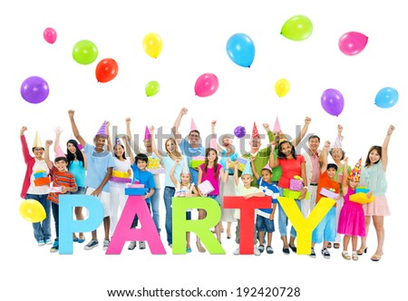 Large Group of People at Party - stock photo