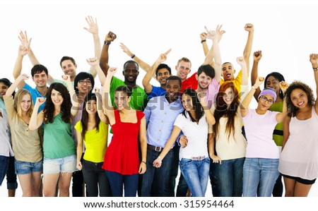 Large Group of People Celebrating community Concept - stock photo