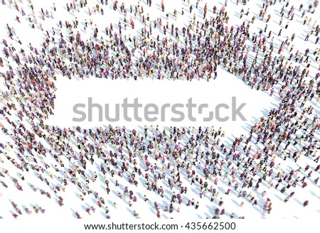 Large group of people forming a arrow symbol - 3D illustration - stock photo