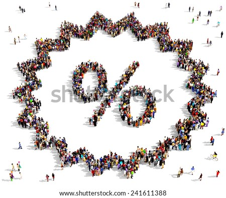 """Large group of people gathered together in the shape of a """"deal"""" symbol, standing on a white background - stock photo"""