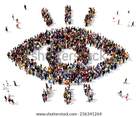Large group of people gathered together in the shape of a eye symbol standing on a white background - stock photo