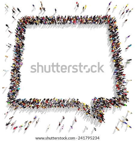 Large group of people gathered together in the shape of a square speech bubble - stock photo