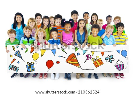 Large Group of People Holding Board - stock photo