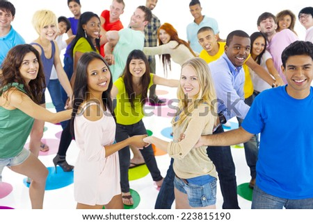 Large Group of People Holding Hand - stock photo