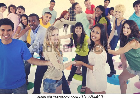 Large Group of People Holding Hand Concept