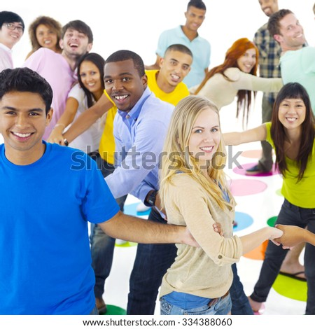Large Group of People Holding Hand Concept - stock photo