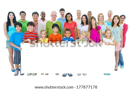 Large Group of People Holding Placard - stock photo