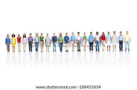Large Group of People In a Line - stock photo