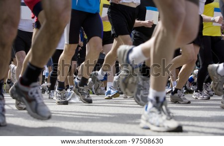 Large group of people in a Sports Game - stock photo