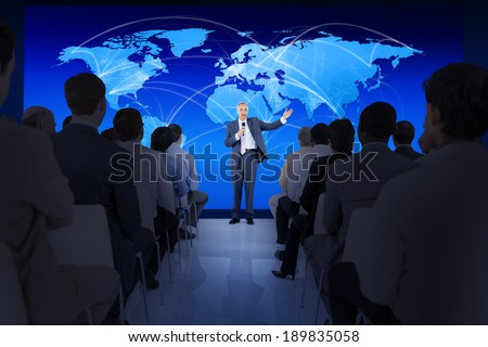 Large group of people in business presentation. - stock photo