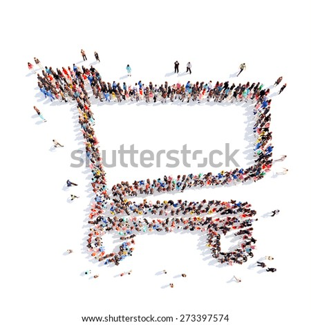 Large group of people in the form of a basket. Isolated, white background. - stock photo