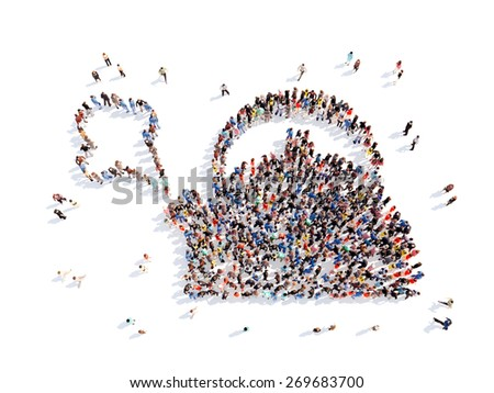 Large group of people in the form of a boiling kettle. Isolated, white background. - stock photo
