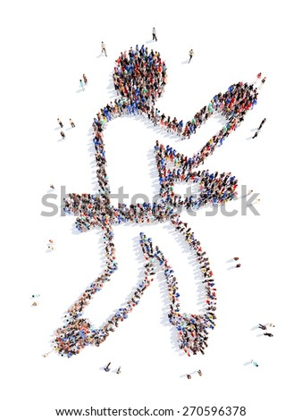 Large group of people in the form of a businessman. Isolated, white background. - stock photo