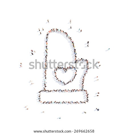 Large group of people in the form of a chef's mittens. Isolated, white background. - stock photo