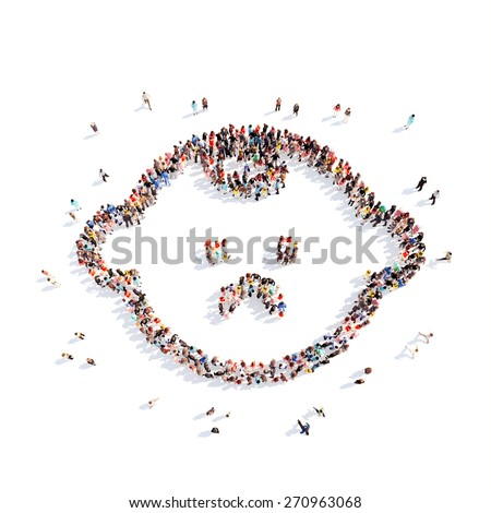 Large group of people in the form of a child. Isolated, white background. - stock photo