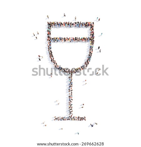 Large group of people in the form of a glass of water. Isolated, white background. - stock photo