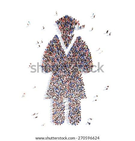 Large group of people in the form of a judge. Isolated, white background. - stock photo