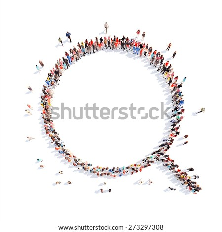 Large group of people in the form of a magnifying glass. Flashmob, isolated, white background. - stock photo