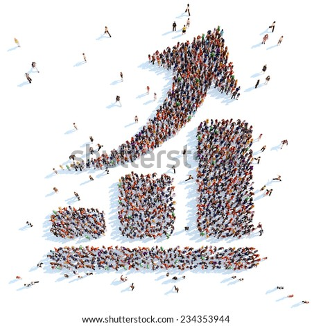 Large group of people in the form of an arrow graphic. White background. - stock photo