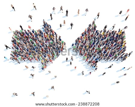 Large group of people in the form of arrows. Isolated, white background. - stock photo