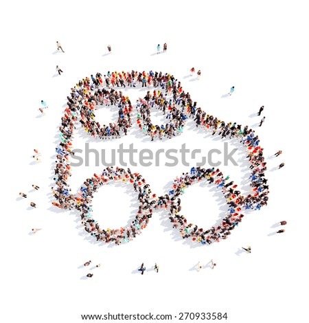 Large group of people in the form of children's cars. Isolated, white background. - stock photo