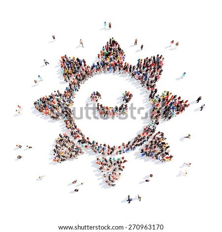 Large group of people in the form of children's sun. Isolated, white background. - stock photo