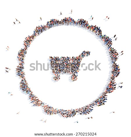 Large group of people in the form of food basket. Isolated, white background. - stock photo