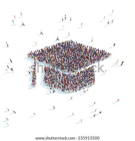 Large group of people in the form of graduate cap. White background. - stock photo