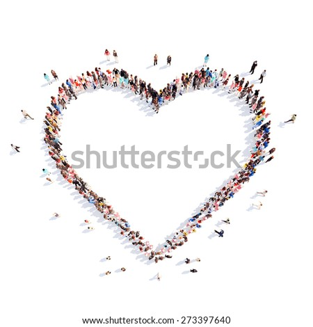 Large group of people in the form of hearts, love. Isolated, white background. - stock photo