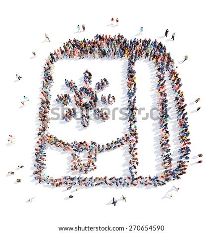 Large group of people in the form of school bags. Isolated, white background. - stock photo