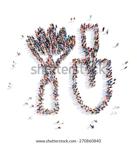 Large group of people in the form of shovels and rakes, farming. Isolated, white background. - stock photo