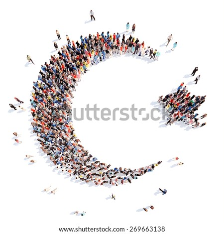 Large group of people in the form of the sign of Islam. Isolated, white background. - stock photo