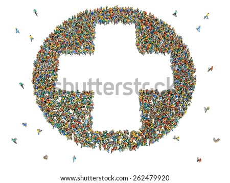 Large group of people in the shape of a plus sign - stock photo
