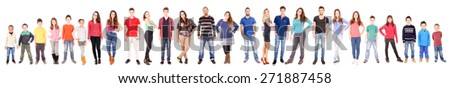 large group of people isolated in white - stock photo
